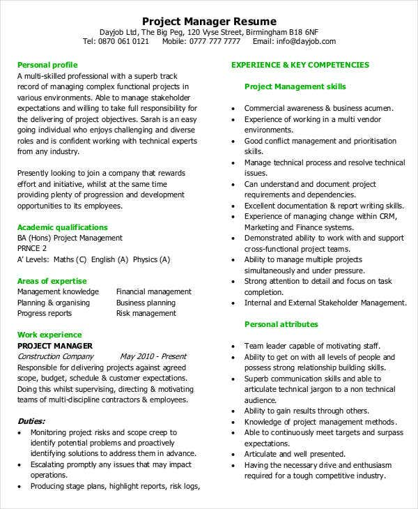 Project Manager Resume Example  Sample Project Management Resume
