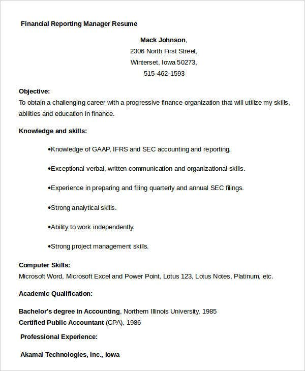 Financial Reporting Manager Resume