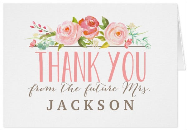 bridal shower thank you note card