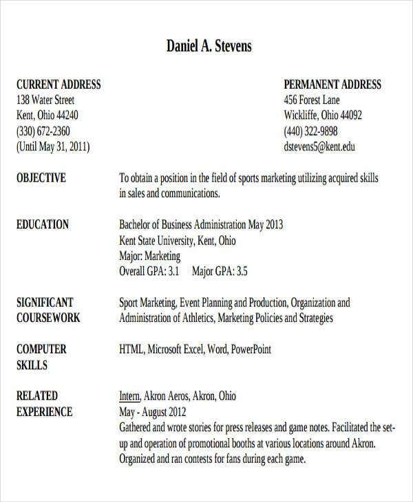 Resume Template Business Administration  Business Administration