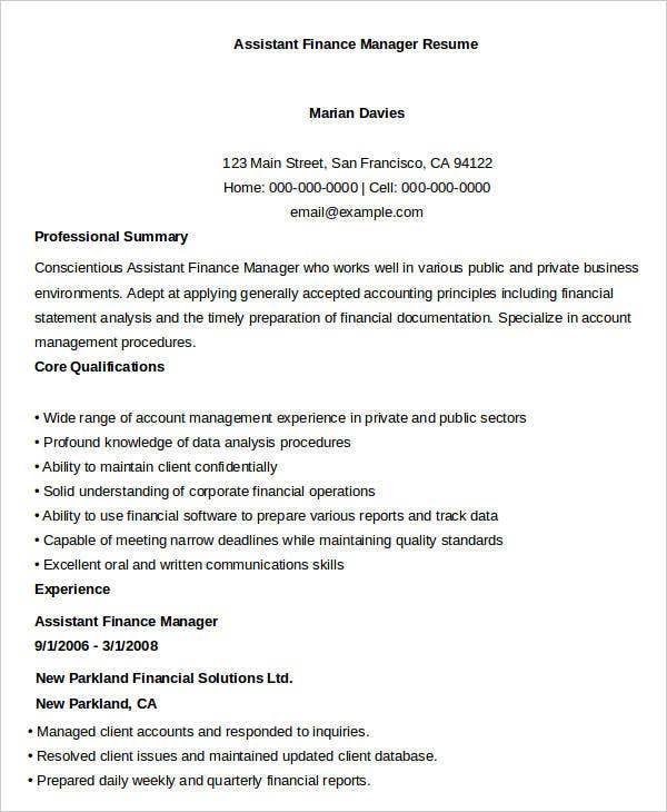 assistant finance manager resume sample