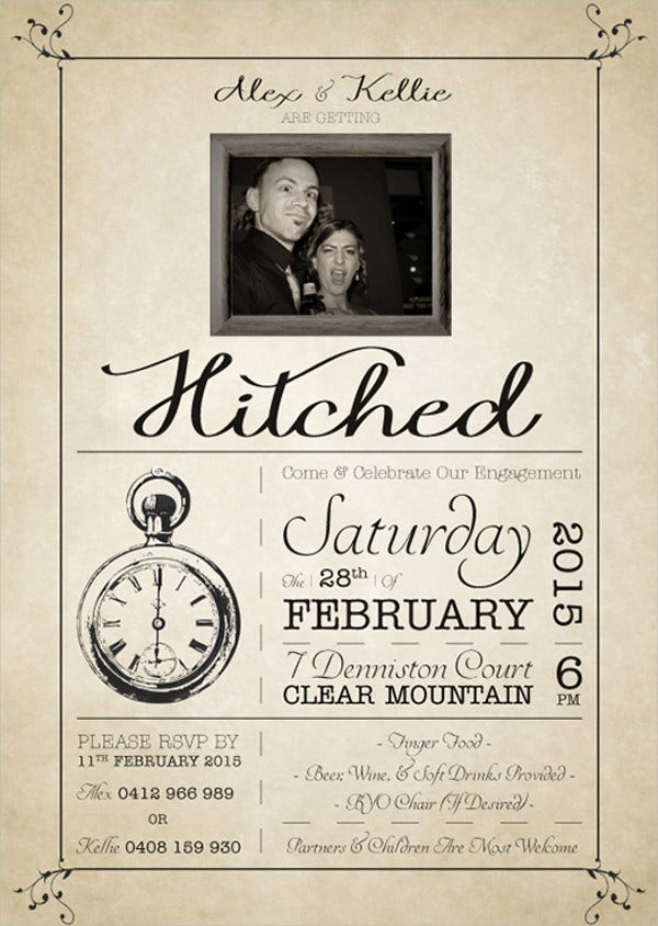 free printable vintage engagement invitation1