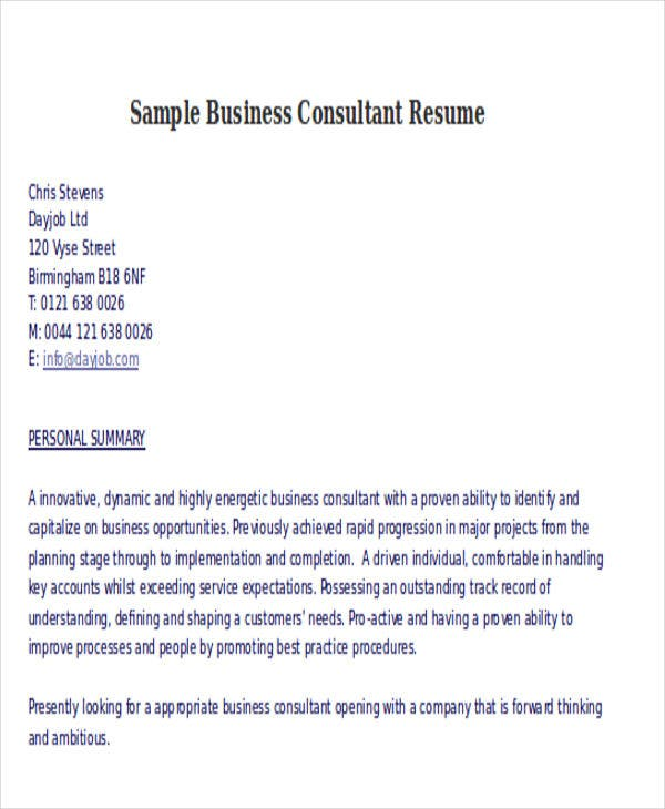 sample business consultant resumes - Business Consultant Resume