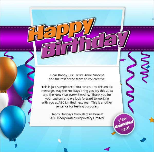 Business Email Birthday Card