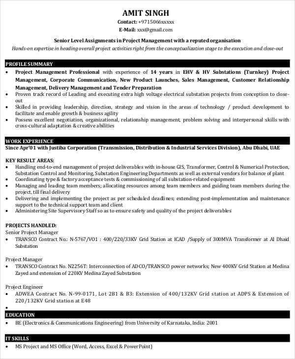 project manager resume sample - Management Resume Template