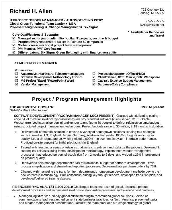 it program manager resume