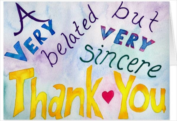belated thank you greeting card