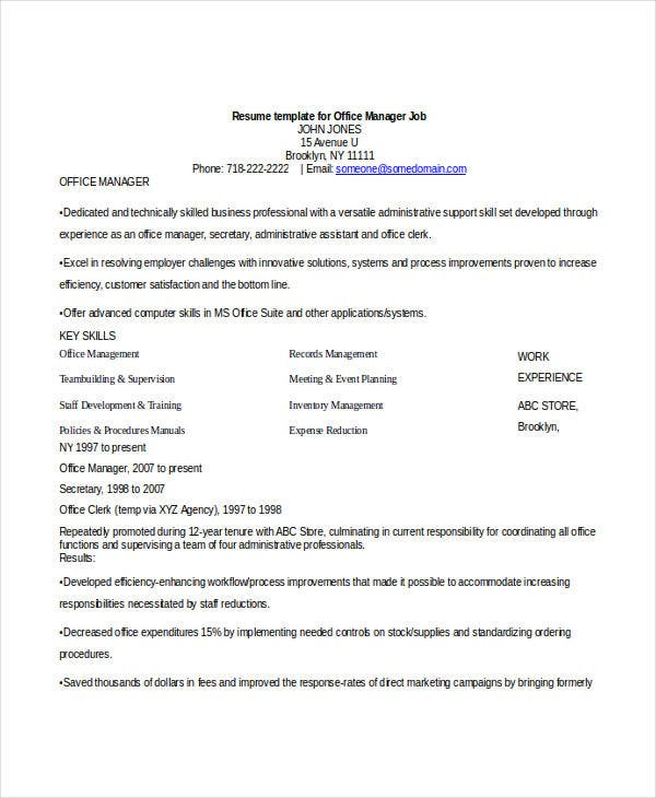 Job Resume Templates Examples: 52+ Professional Manager Resumes - PDF, DOC