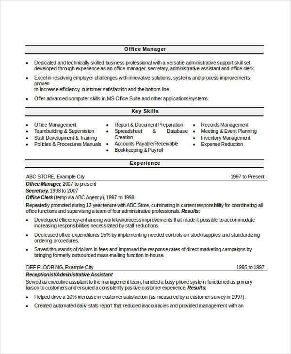 Office Manager Resume Sample In Doc  Office Management Resume