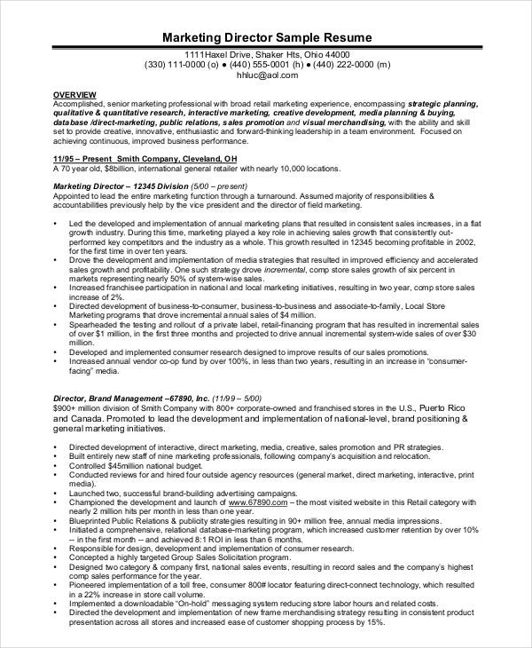 senior marketing director - Marketing Director Resume Examples