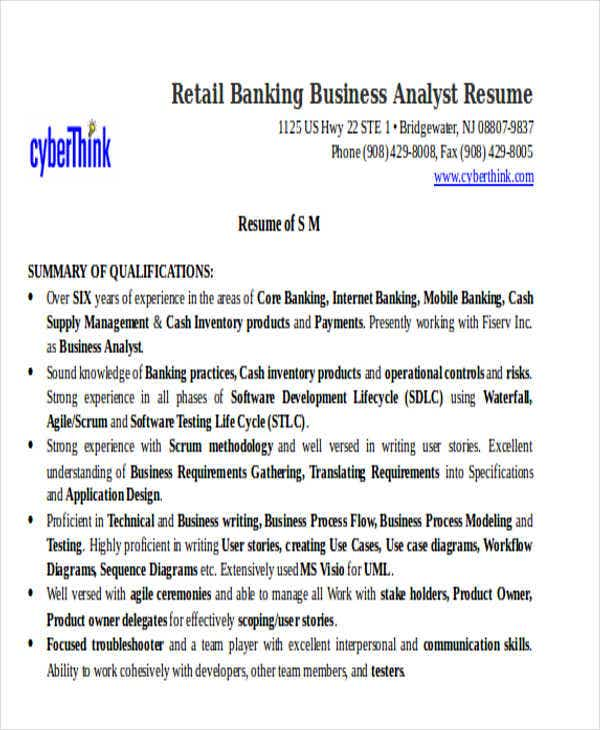 retail banking business analyst resume