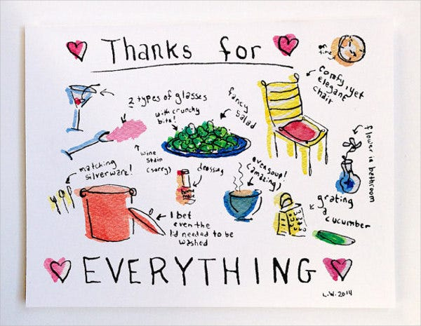 thank you for dinner greeting card