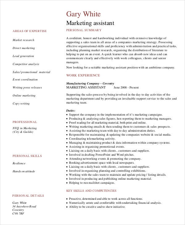 assistant marketing assistant