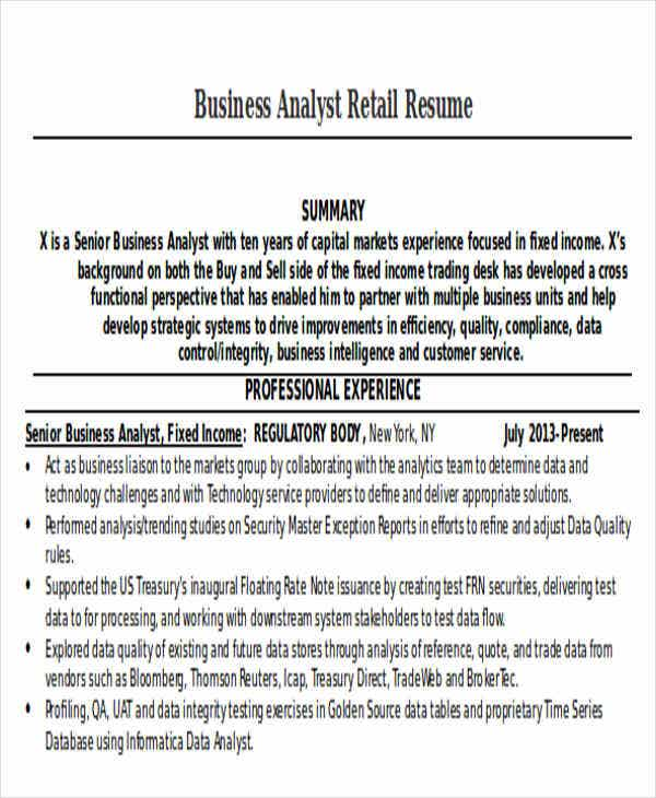 business analyst retail resume