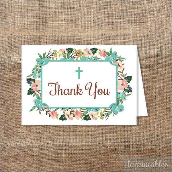 floral wreath baptism thank you card