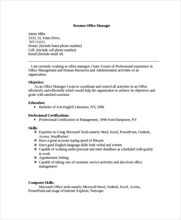 office manager cv example. Resume Example. Resume CV Cover Letter