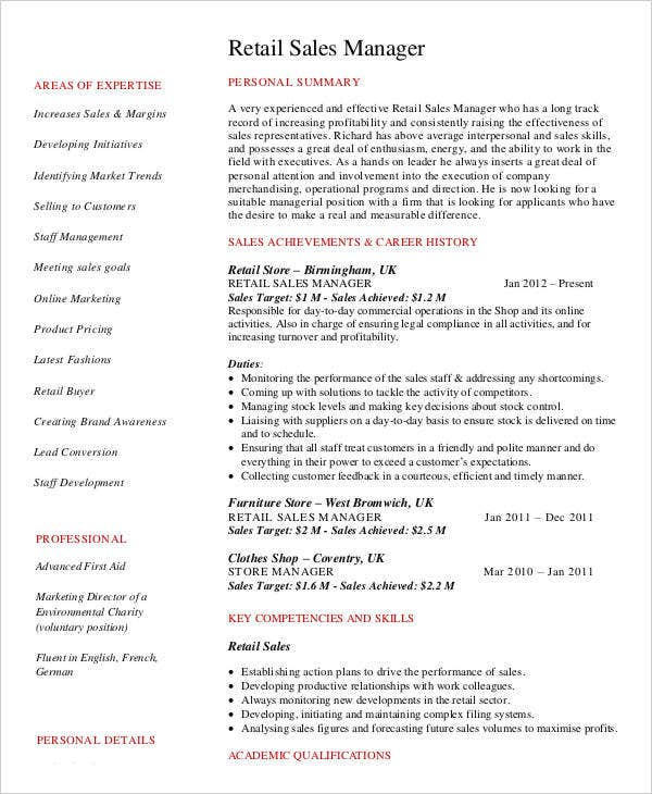 Retail Sales Manager Job Resume Vosvetenet – Sales Supervisor Resume