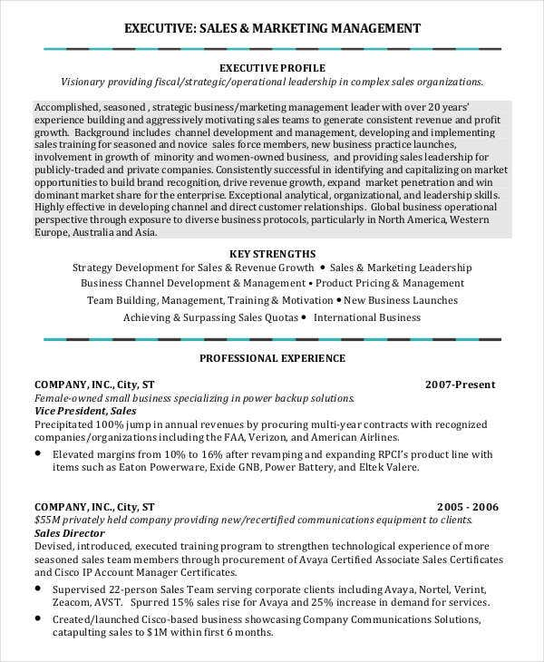 sales and marketing manager resume3