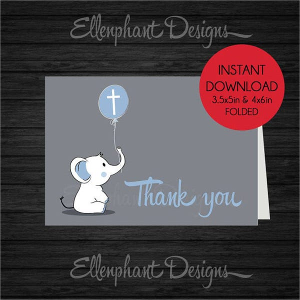 handmade baptism thank you card