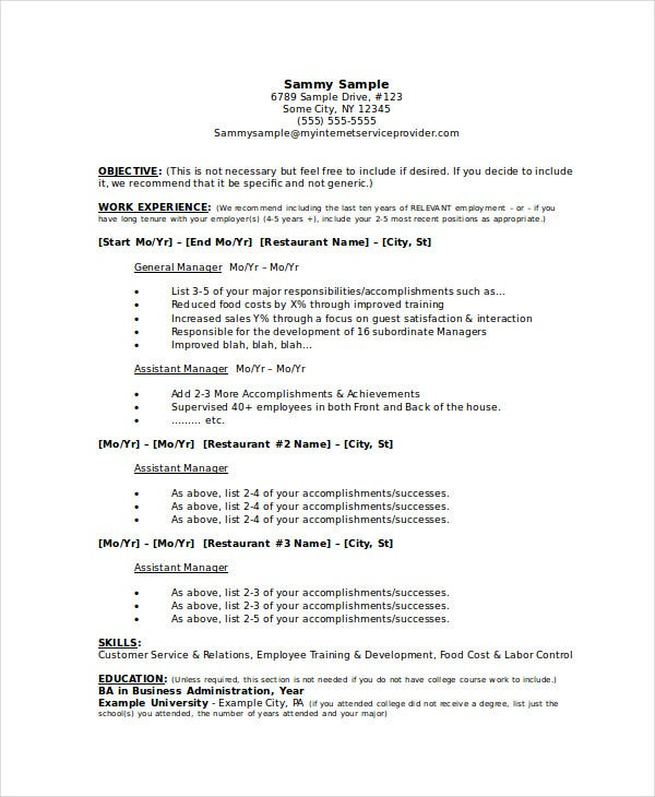 restaurant general manager resume