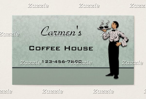 -Restaurant Server Business Card