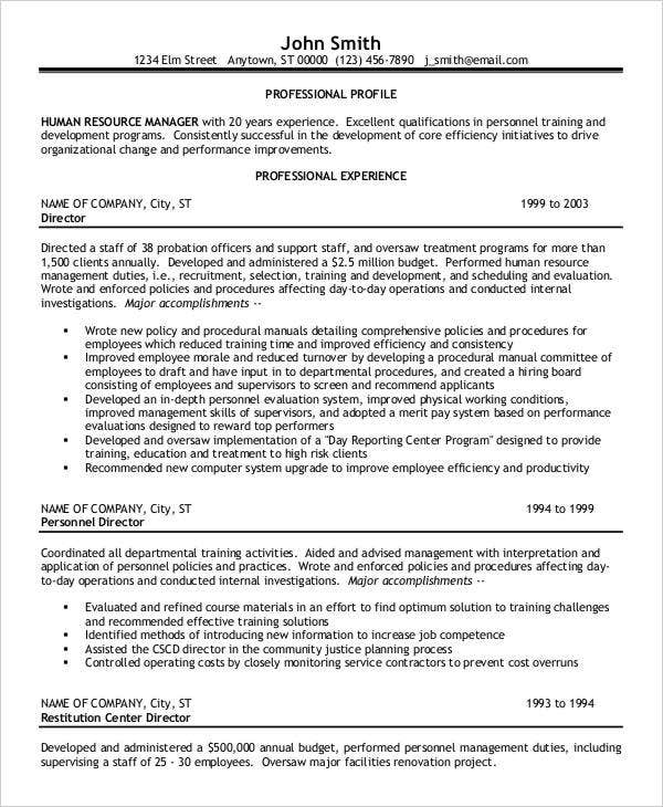 Sample HR Manager Resume