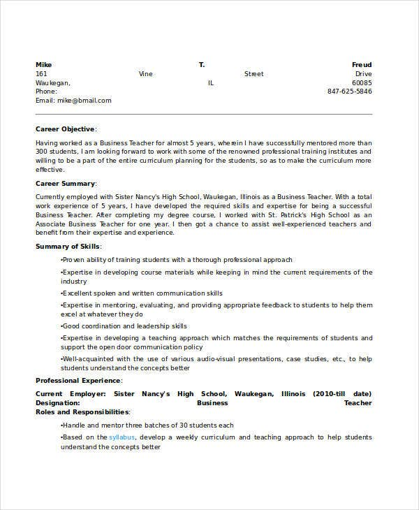 high school business education teacher resume1