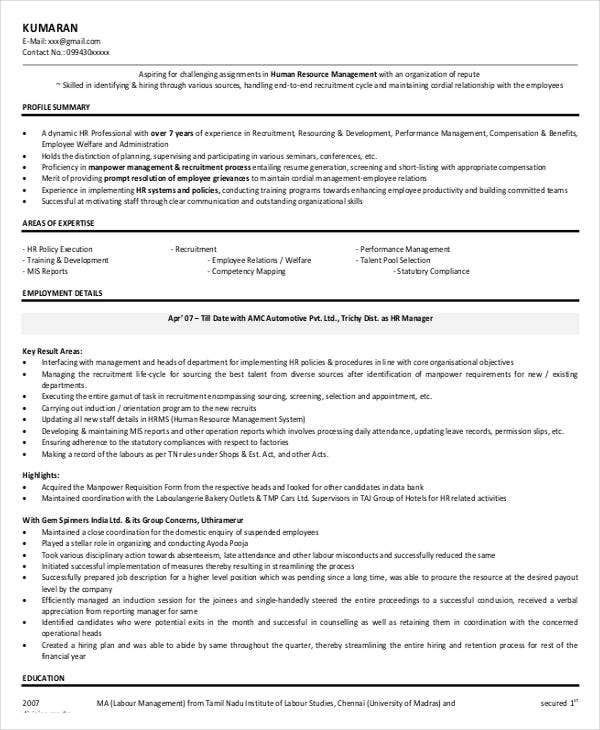 Sample Hr Executive Resume: 49+ Professional Manager Resumes - PDF, DOC