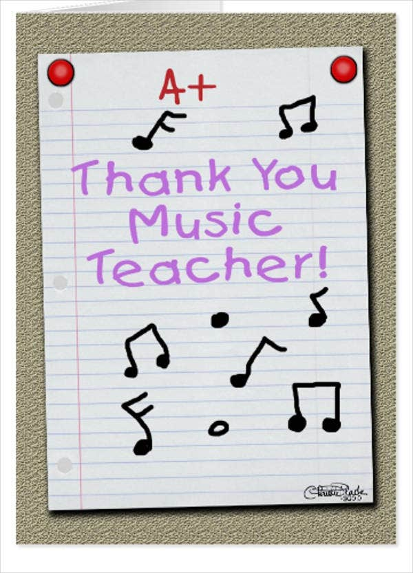 thank you music teacher card