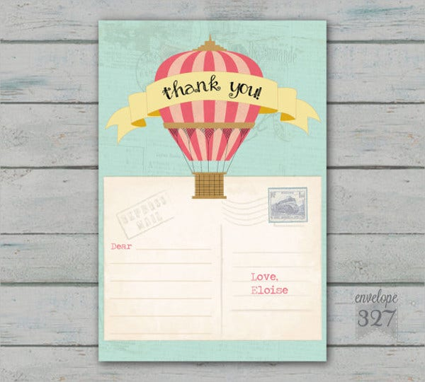 childrens travel thank you card