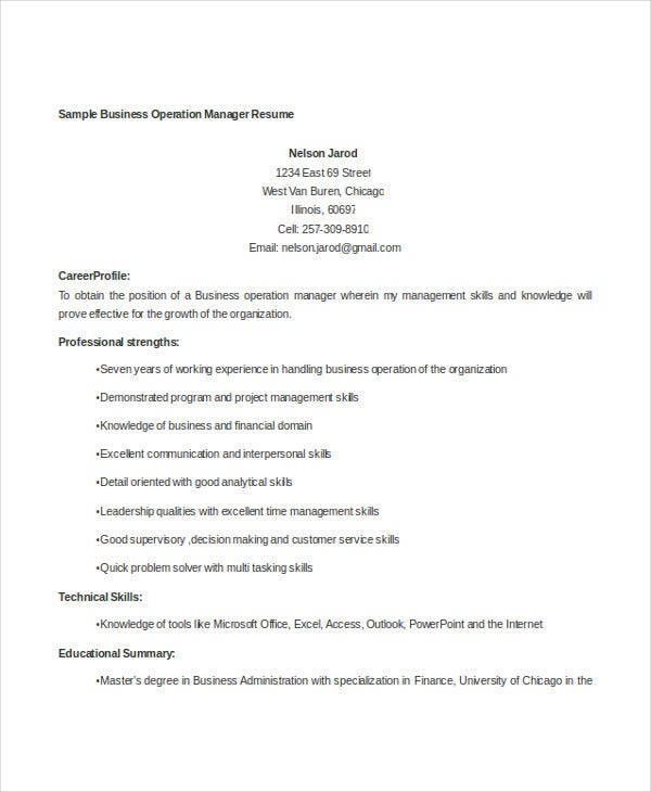 business operations manager resume3