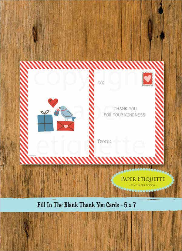 childrens valentine thank you card