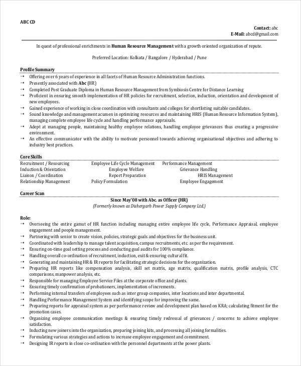 hr manager resume format