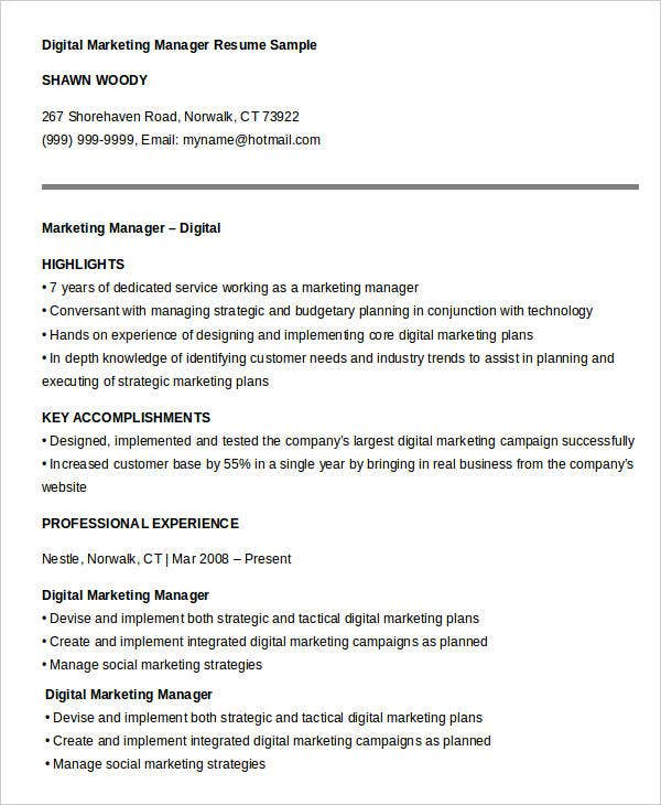 Sample For Digital Marketing Manager. Digital Marketing Manager Resume  Sample