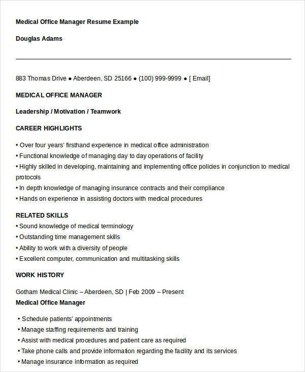 medical office manager resume template example cv sample job