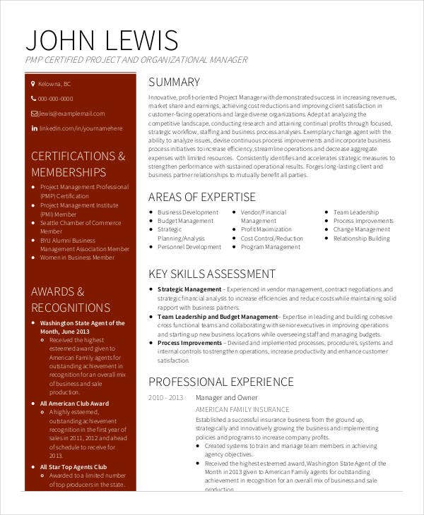 Senior Project Manager Resume