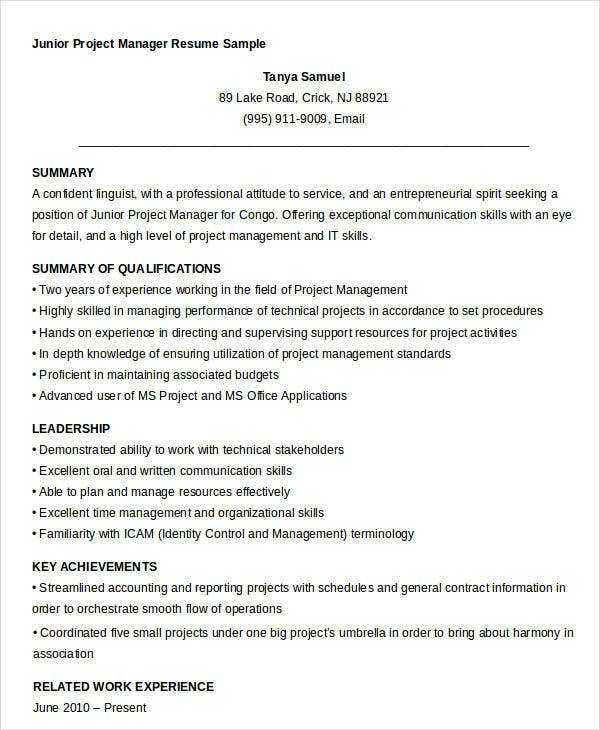 junior project manager resume sample