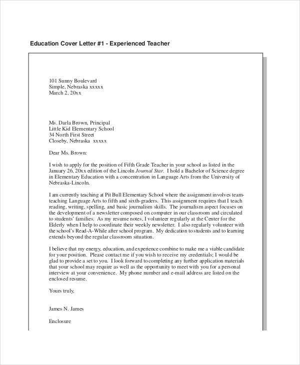 elementary education resume cover letter1