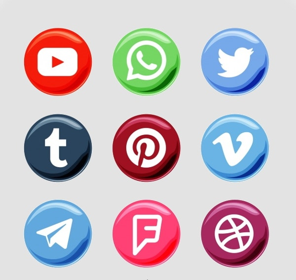 round social network buttons