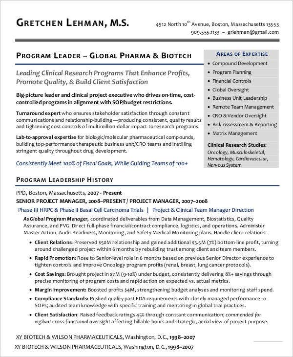 Program Manager Resume in PDF