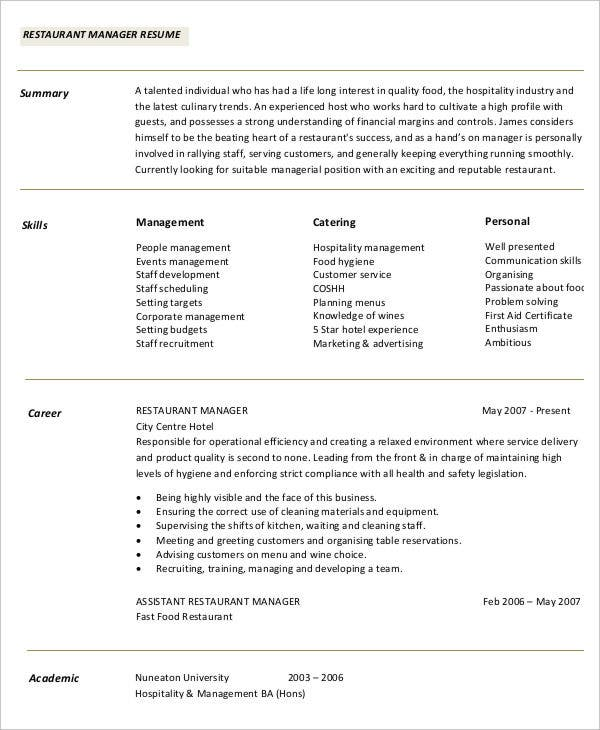 49 professional manager resumes pdf doc free for Resume templates for restaurant managers