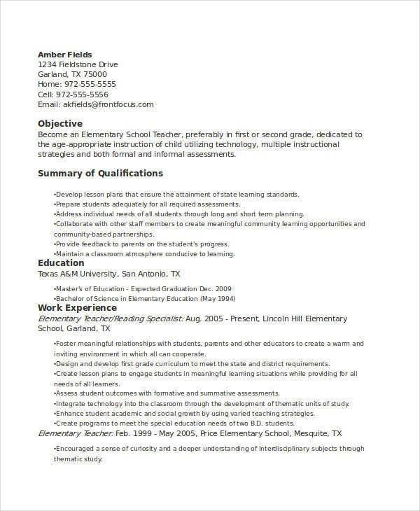 elementary education teacher resume