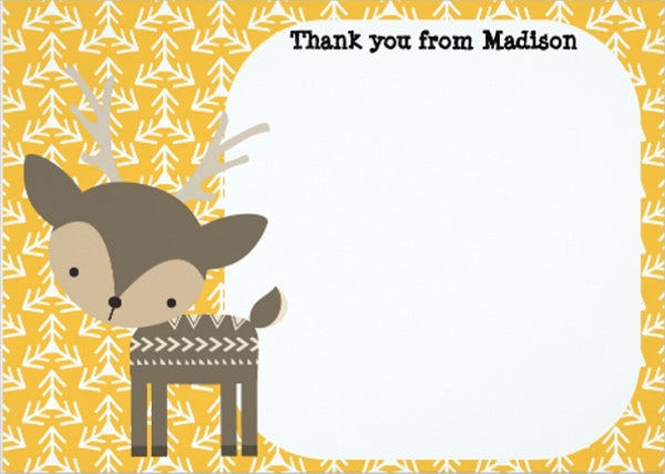 childrens reindeer thank you card