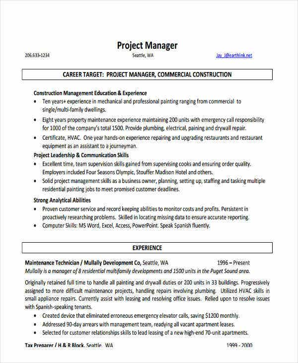 construction project manager resume3