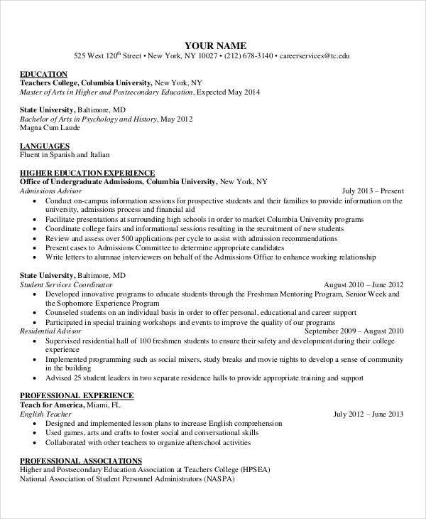 education resume template word higher sample nurse educator curriculum vitae example teacher format doc free download