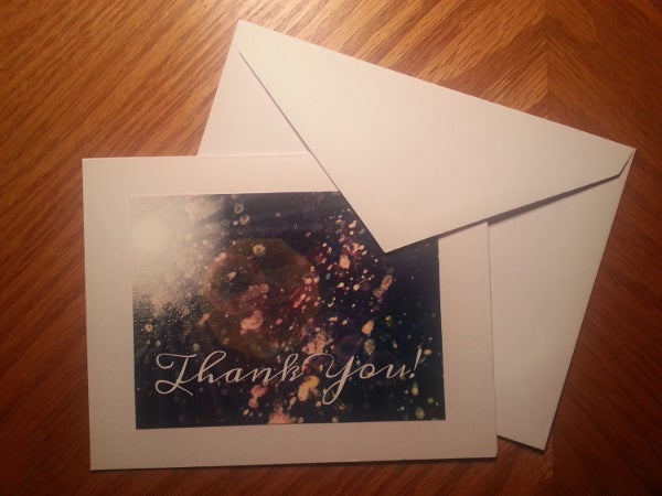blank photo thank you card