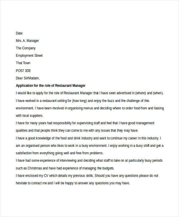 Restaurant Manager Resume Cover Letter