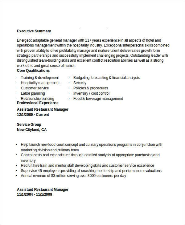 assistant restaurant manager resume2