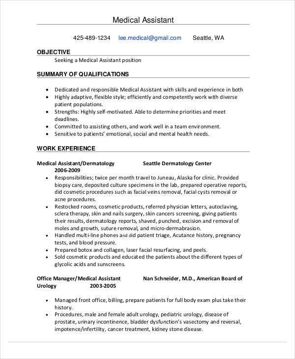 medical assistant education resume