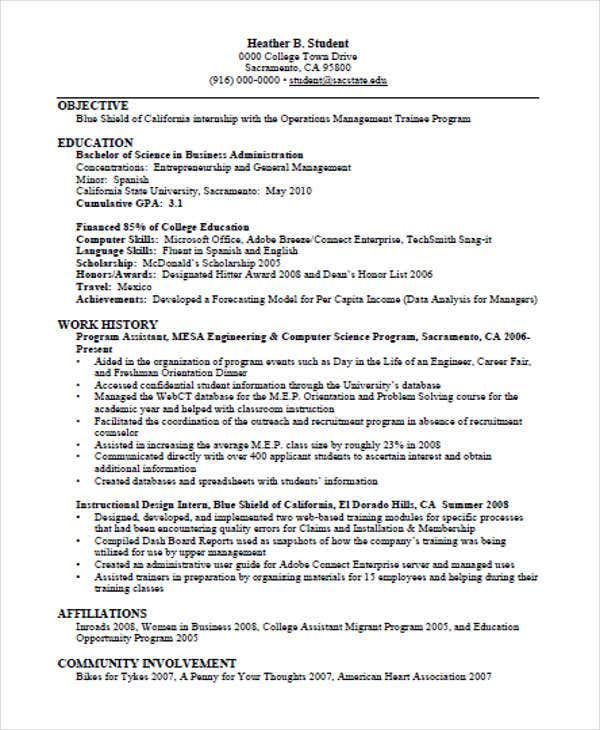 business education resume example